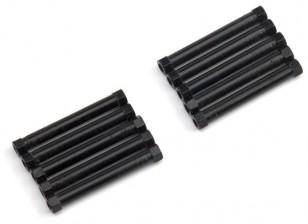 Lightweight Aluminium Round Section Spacer M3x38mm (Black) (10pcs)