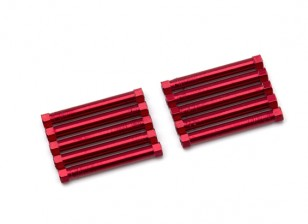 Lightweight Aluminium Round Section Spacer M3x38mm (Red) (10pcs)