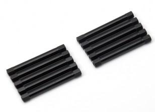 Lightweight Aluminium Round Section Spacer M3x45mm (Black) (10pcs)