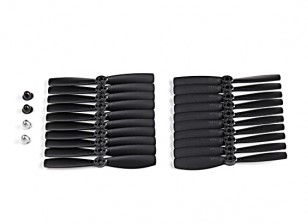 KingKong 5045 2-Blade Propellers Black (CW/CCW) (10 Pairs) w/Self-tightening Prop Adapters