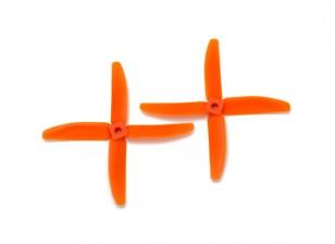 Gemfan Bullnose Polycarbonate 5040 4-Blade Propellers Orange (CW/CCW) (1 Pair)