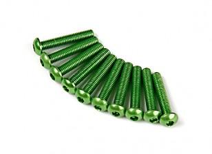 Screw Round Head Hex M3 x 16mm 7075 Aluminium Green (10pcs)