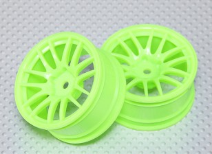 1:10 Scale Wheel Set (2pcs) Flourescent Green Split 7-Spoke RC Car 26mm (3mm Offset)