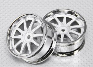 1:10 Scale Wheel Set (2pcs) Chrome/White 10-Spoke RC Car 26mm (3mm Offset)