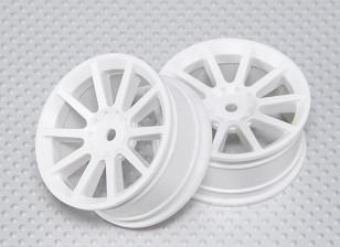 1:10 Scale Wheel Set (2pcs) White 10-Spoke RC Car 26mm (No Offset)