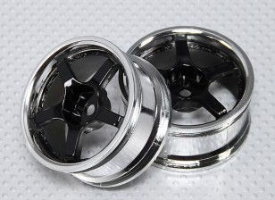 1:10 Scale Wheel Set (2pcs) Chrome/Black 5-Spoke RC Car 26mm (No Offset)