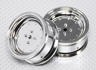 1:10 Scale Wheel Set (2pcs) Chrome Dish Style RC Car 26mm (no offset)