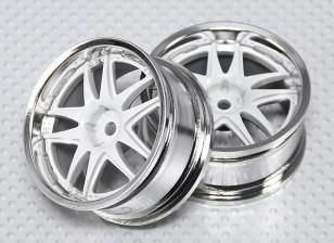 1:10 Scale Wheel Set (2pcs) White/Chrome Split 5-Spoke RC Car 26mm (no offset)