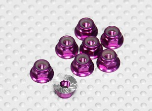 Purple Anodised Aluminum M4 Nylock Wheel Nuts w/ Serrated Flange (8pcs)