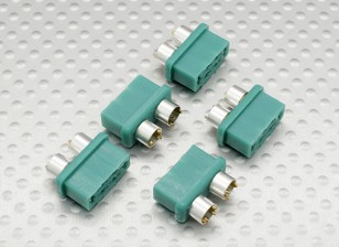 MPX connector with silver color ring, female (5pcs per bag)