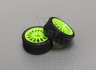Wheel/Tire Set (green wheel) (2pcs/bag) - 1/16 Brushless 4WD Mini Rally Car