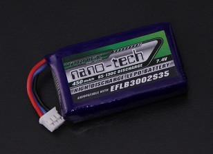 Turnigy nano-tech 450mAh 2S 65C Lipo (E-flite Compatible - Blade 130X EFLB3002S35)