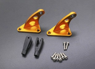 CNC Alloy Control Horn with Clevis Gold Anodised (Pair)