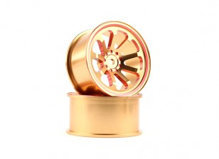 HobbyKing 1/10 Aluminum 9-Spoke Gold/Red Drift Wheel (2pcs)