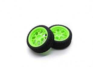 HobbyKing 1/10 Wheel/Tire Set AF Rally Y-Spoke(Green) RC Car 26mm (2pcs)