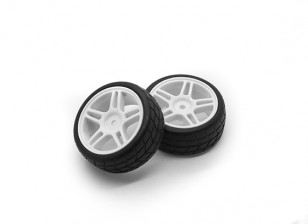 HobbyKing 1/10 Wheel/Tire Set  Star Spoke Directional Tread (White) RC Car 26mm (2pcs)