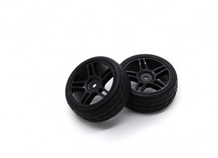 HobbyKing 1/10 Wheel/Tire Set VTC Star Spoke(Black) RC Car 26mm (2pcs)