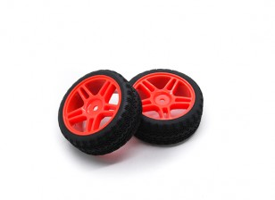 HobbyKing 1/10 Wheel/Tire Set AF Rally Star Spoke(Red) RC Car 26mm (2pcs)