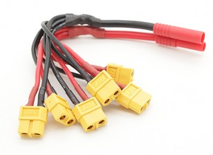 HXT 4mm to Six XT60 Female Power Distribution Lead for Multi-Rotor