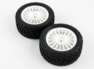 Basher RZ-4 1/10 Rally Racer - 30mm Complete Rear Tire Set - White (2pcs)