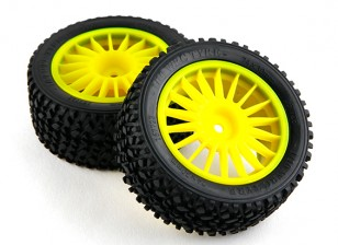 Basher RZ-4 1/10 Rally Racer - 30mm Complete Rear Tire Set - Yellow (2pcs)