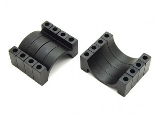 Black Anodized CNC Aluminum 4.5mm Tube Clamp 22mm Diameter (Set of 4)