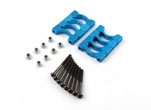 Blue Anodized CNC Super Light Alloy Tube Clamp 14mm Diameter (4set)