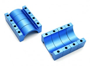 Blue Anodized CNC 10mm Aluminum Tube Clamp 25mm Diameter
