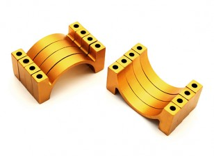 Gold Anodized CNC Semicircle Alloy Tube Clamp (incl. nuts & bolts) 30mm