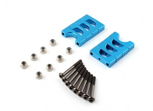 Blue Anodized Double Sided CNC Aluminum Tube Clamp 10mm Diameter