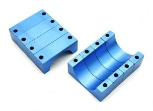 Blue Anodized CNC 10mm Aluminum Tube Clamp 22mm Diameter