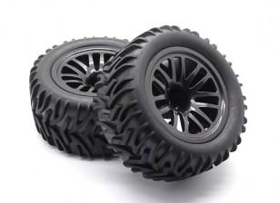Pre-glued Tire Set - 1/10 Quanum Vandal XL 4WD Racing Buggy (2pcs)