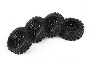 HobbyKing 1/10 Twin 7-Spoke Black Wheel w/ Pre-Glued Rally Tires Set (4pcs)
