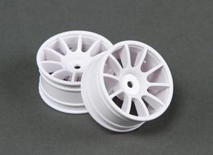 RiDE 1/10 Mini 10 Spoke Wheel 0mm Offset - White (2pcs)