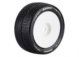 LOUISE T-TURBO 1/8 Scale Truggy Tires Super Soft Compound / 0 Offset / White Rim / Mounted