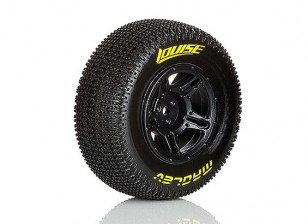 LOUISE SC-MAGLEV 1/10 Scale Truck Rear Tires Super Soft Compound / Black Rim / Mounted