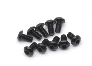Screw Button Head Hex M2.5 x 5mm Machine Thread Steel Black (10pcs)
