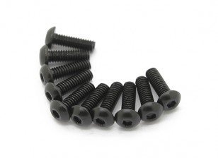 Screw Button Head Hex M2.5 x 10mm Machine Thread Steel Black (10pcs)