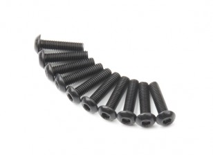 Screw Button Head Hex M3x12mm Machine Thread Steel Black (10pcs)