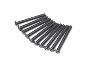Screw Button Head Hex M3x26mm Machine Thread Steel Black (10pcs)