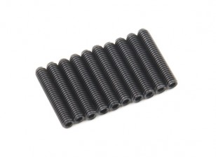 Screw Grub Hex M3x16mm Machine Thread Steel Black (10pcs)
