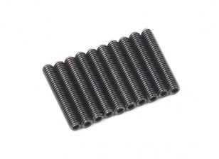 Screw Grub Hex M3x18mm Machine Thread Steel Black (10pcs)