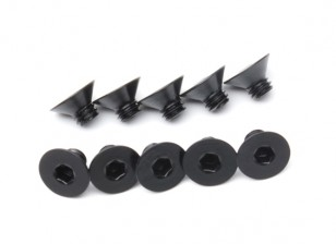 Screw Countersunk Hex M4 x 5mm Machine Steel Black (10pcs)