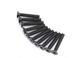 Screw Countersunk Hex M4 x 24mm Machine Steel Black (10pcs)