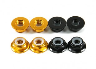 Aluminum Flange Low Profile Nyloc Nut M5 (4 Black CW & 4 Gold CCW)