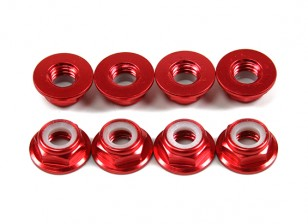 Aluminum Flange Low Profile Nyloc Nut M5 Red (CCW) 8pcs