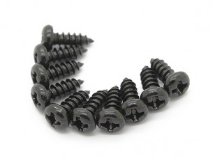 Screw Round Head Phillips M3x8mm Self Tapping Steel Black (10pcs)