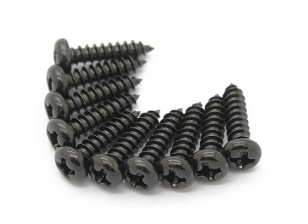 Screw Round Head Phillips M3x12mm Self Tapping Steel Black (10pcs)