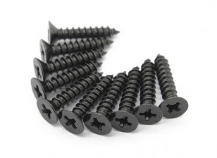 Screw Flat Head Phillips M4x20mm Self Tapping Steel Black (10pcs)