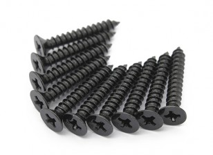 Screw Flat Head Phillips M4x26mm Self Tapping Steel Black (10pcs)